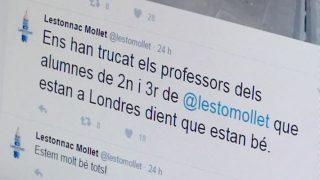 Els alumnes i els professors de l'escola Lestonnac de Mollet que es troben a Londres estan sans i estalvis
