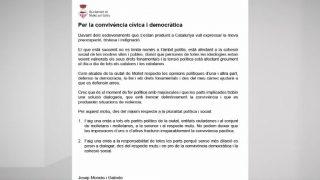 L'alcalde de Mollet fa una crida al respecte mutu i a la defensa dels drets fonamentals de la ciutadania